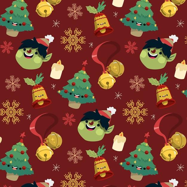 Grappig kerstpatroon met sparren Gratis Vector