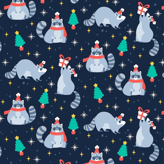 Grappig kerstpatroon met wasbeer Gratis Vector