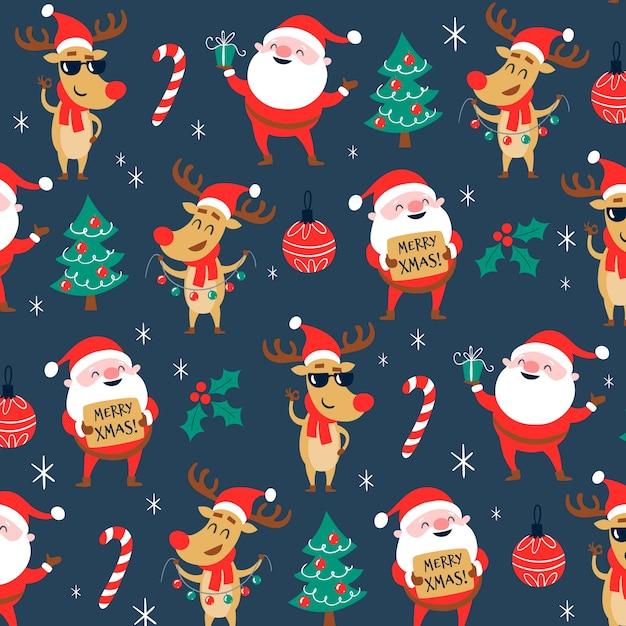 Grappig kerstpatroon Gratis Vector