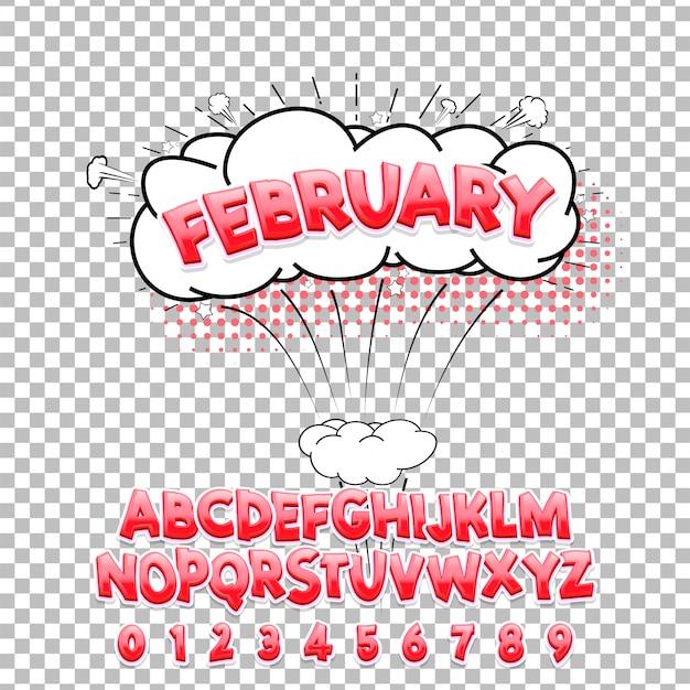 Grappig lettertype 3d van februari. vector alfabet Premium Vector