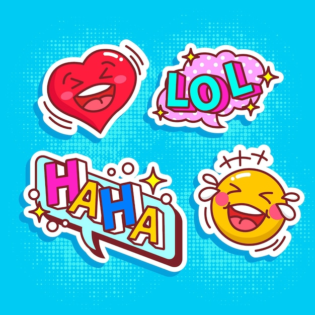 Grappig lol stickers concept Gratis Vector