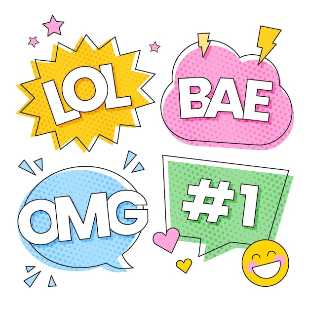 Grappig lol stickers concept Gratis Vector