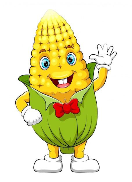 Grappig maïs stripfiguur Premium Vector
