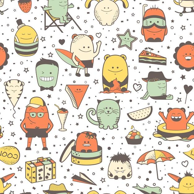 Grappig naadloos patroon met beeldverhaalmonsters, personage. kleurrijke hand getrokken karakters, ongebruikelijke schepselen Premium Vector