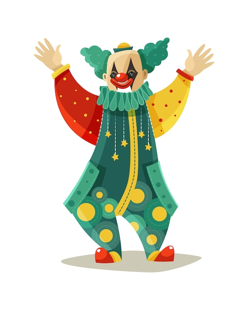 Grappig reizend circus clown kleurrijk pictogram Gratis Vector