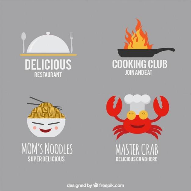 Grappig restaurant logo templates Gratis Vector