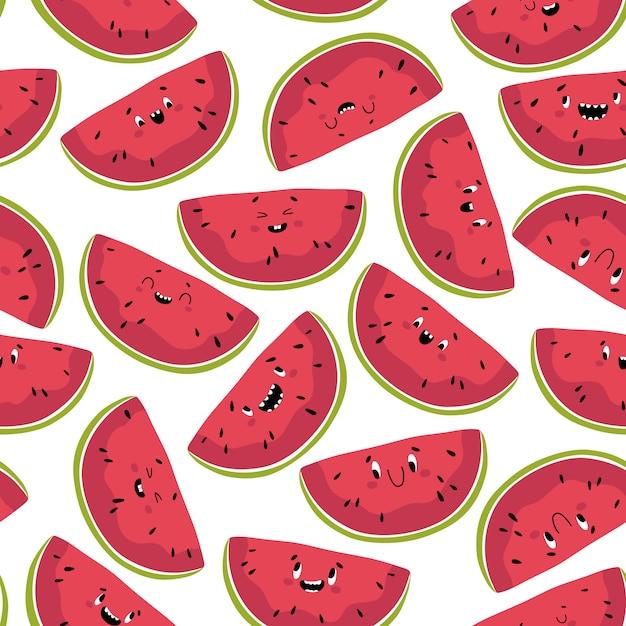 Grappig watermeloen naadloos patroon. segmenten van heerlijke zomerfruit met verschillende kawaii emoties in een leuke platte cartoon-stijl. isoleer op een witte achtergrond Premium Vector
