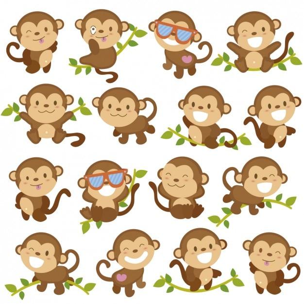 Grappige aap cartoons Gratis Vector