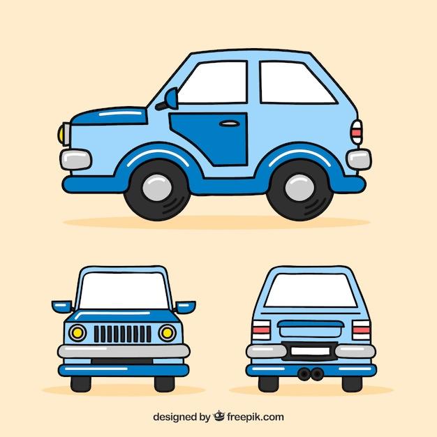 Grappige auto in verschillende uitzichten Gratis Vector