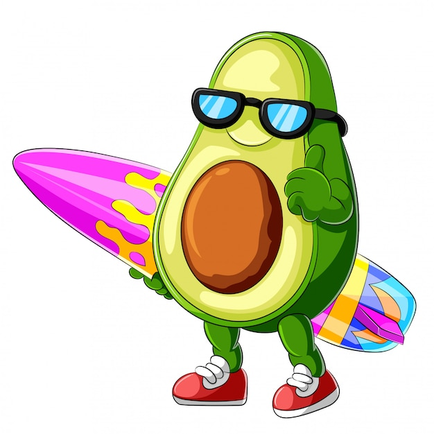 Grappige avocado cartoon surfen Premium Vector