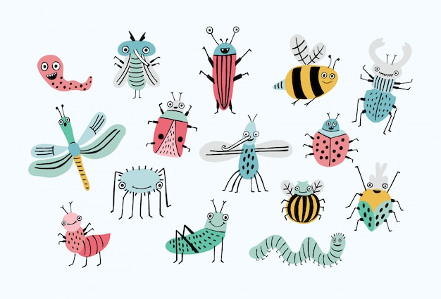 Grappige bugset. collectie happy cartoon insecten. kleurrijke hand getekende illustratie. Premium Vector