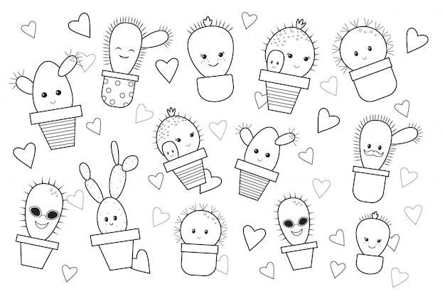 Grappige cartoon cactus, kleurboek. doodle stijl. vector illustratie Premium Vector