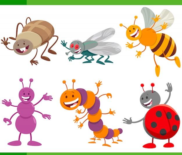 Grappige cartoon insecten dierlijke tekens instellen Premium Vector