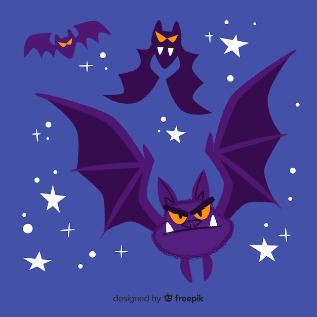 Grappige cartoon vleermuizen vliegen naast sterren Gratis Vector