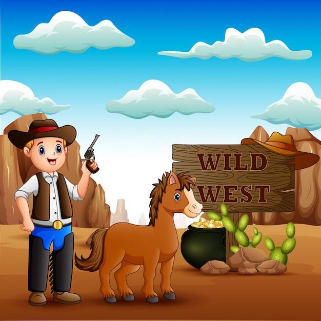 Grappige cowboy met paard in de steenachtige woestijn Premium Vector