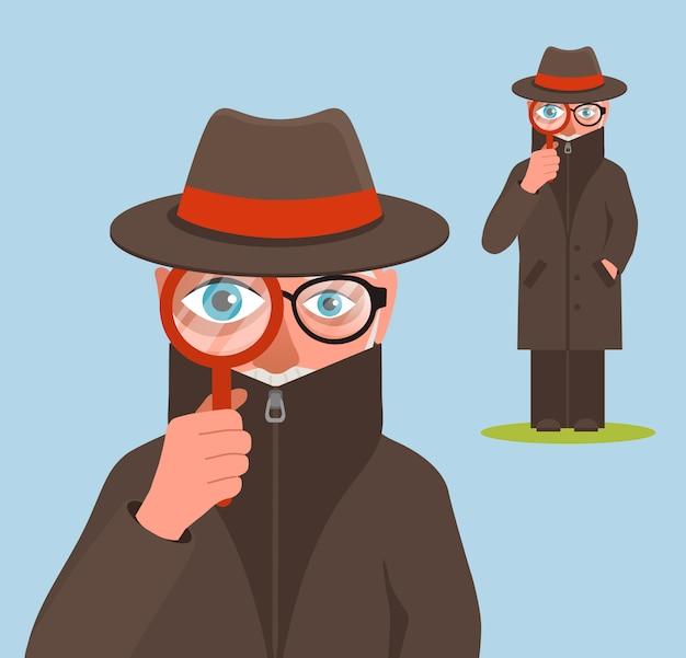 Grappige detective karakter illustratie Premium Vector