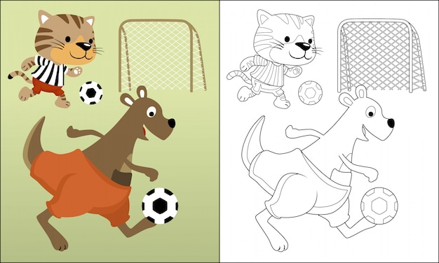 Grappige dieren cartoon voetballen Premium Vector