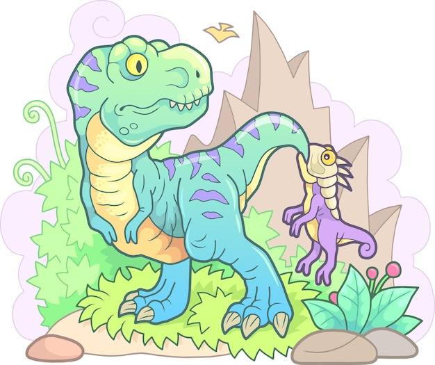 Grappige dinosaurussen met bergen en planten Premium Vector
