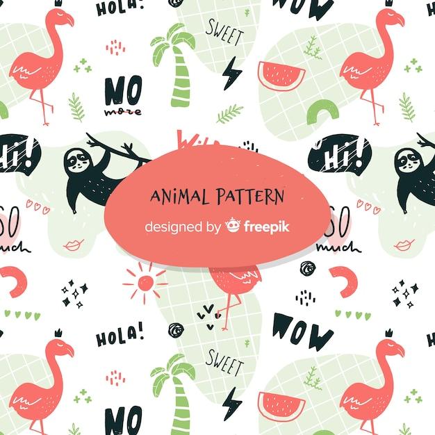 Grappige doodle dieren en woorden patroon Gratis Vector
