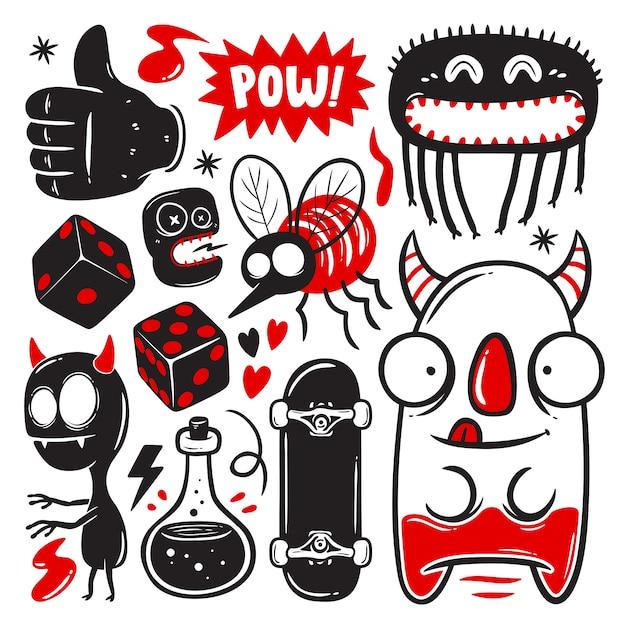 Grappige doodles met monsters set Gratis Vector