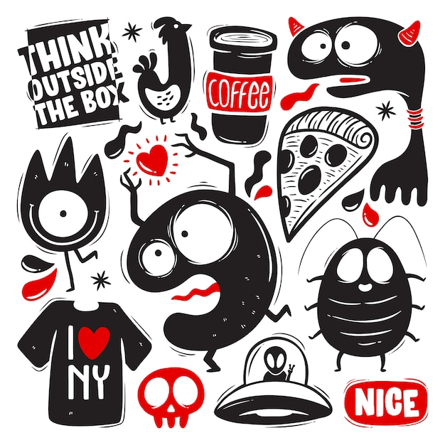 Grappige doodles met monsters set Gratis Vector