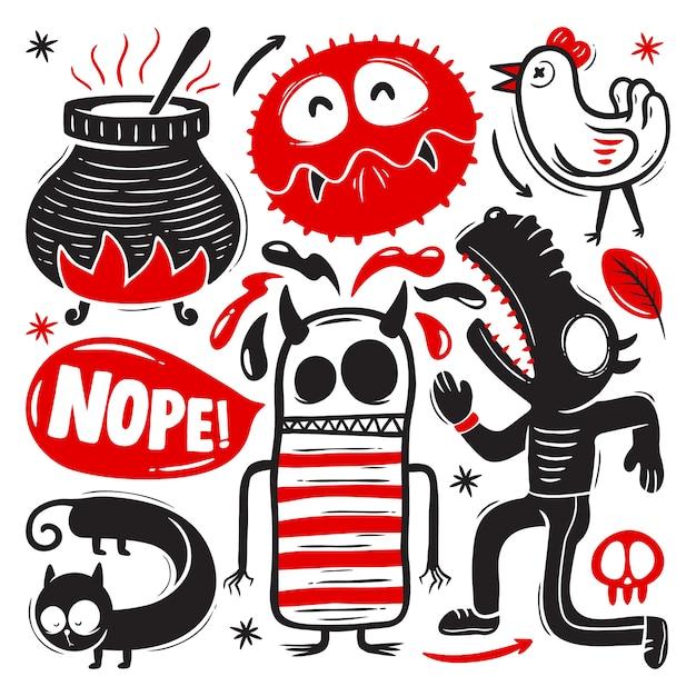 Grappige doodles met monsters set Premium Vector