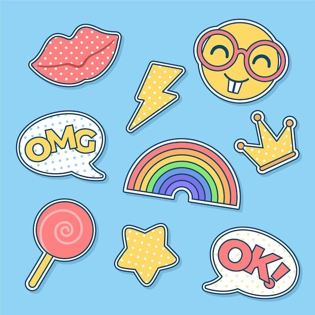 Grappige emoji-stickers voor sociale media Gratis Vector