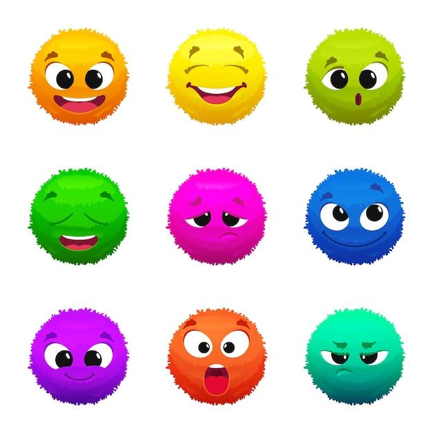 Grappige gekleurde harige emoticons. stripfiguren met verschillende emoties. harige grappige glimlach mascotte collectie illustratie Premium Vector