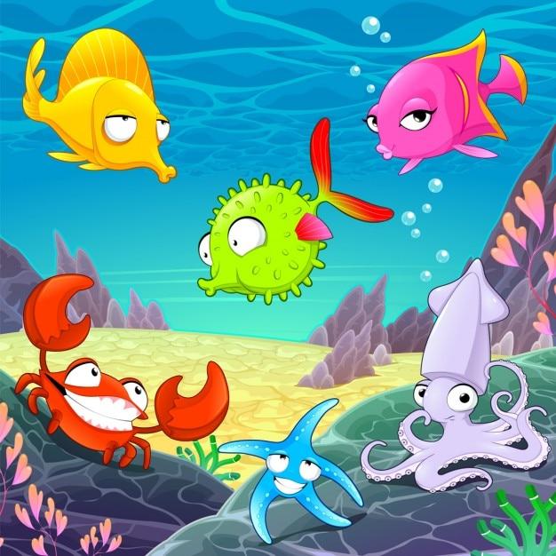 Grappige gelukkige dieren onder de zee vector cartoon illustraties Gratis Vector