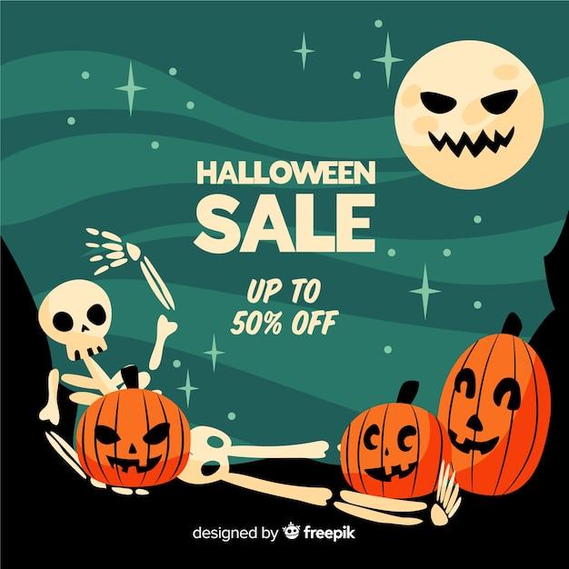 Grappige gezichten platte halloween verkoop Gratis Vector