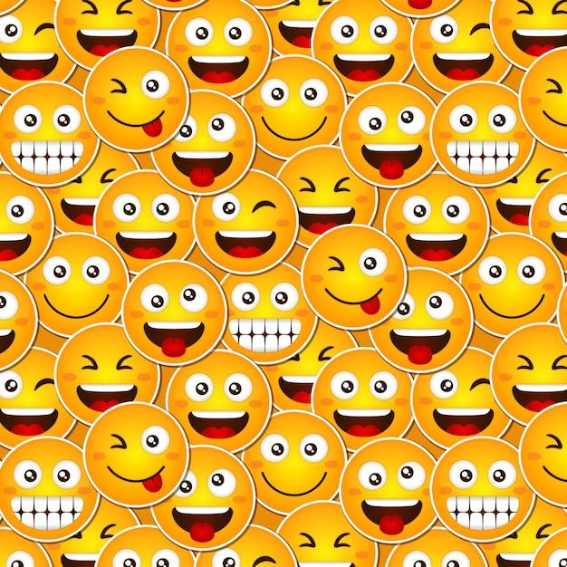 Grappige glimlach emoticons patroon Gratis Vector