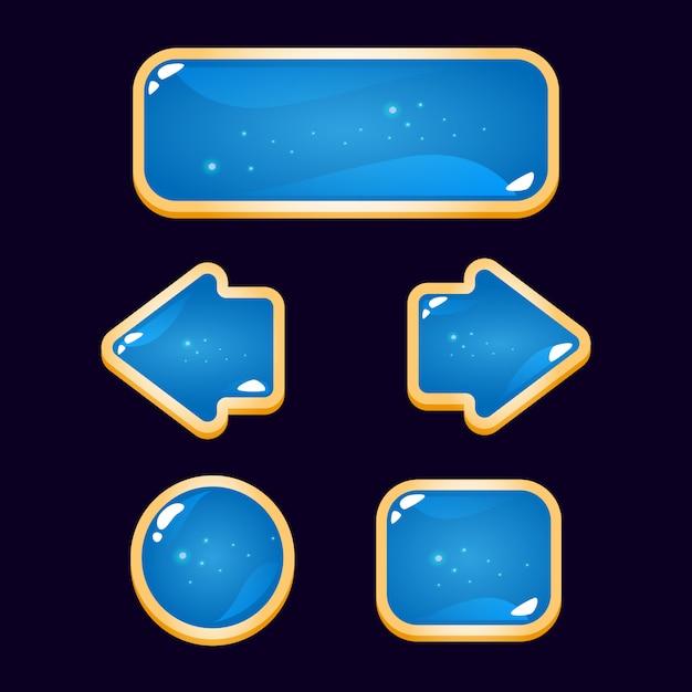 Grappige gui blauwe knop met gouden rand Premium Vector