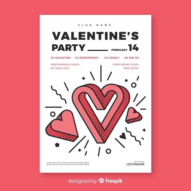 Grappige hart valentijn partij poster Gratis Vector