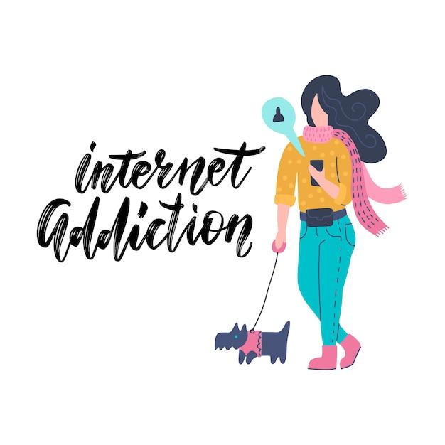Grappige jonge vrouw die via smartphone communiceren terwijl het lopen met hond. meisje dat internet op mobiele telefoon surft. internet verslaving. Premium Vector