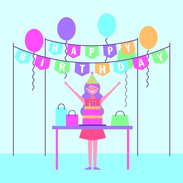 Extreem Grappige jonge vrouw gelukkige verjaardag | Vector | Premium Download #JS26