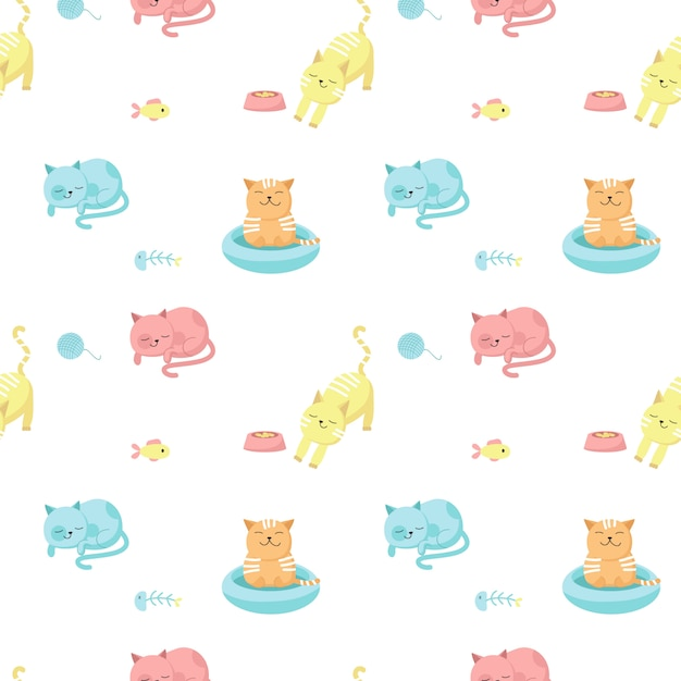 Grappige katten vector naadloze patroon. creatief ontwerp voor stof, textiel, behang, inpakpapier met gelukkige katten eten, slapen, bad nemen. Premium Vector
