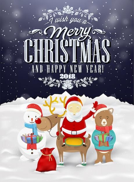 Grappige Kerstkaarten E Cards.Grappige Kerstkaart Met De Kerstman Herten Sneeuwman En