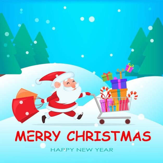 Grappige kerstman loopt met winkelwagentje vol met cadeautjes Premium Vector