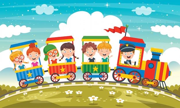 Grappige kinderen rijden op de trein Premium Vector