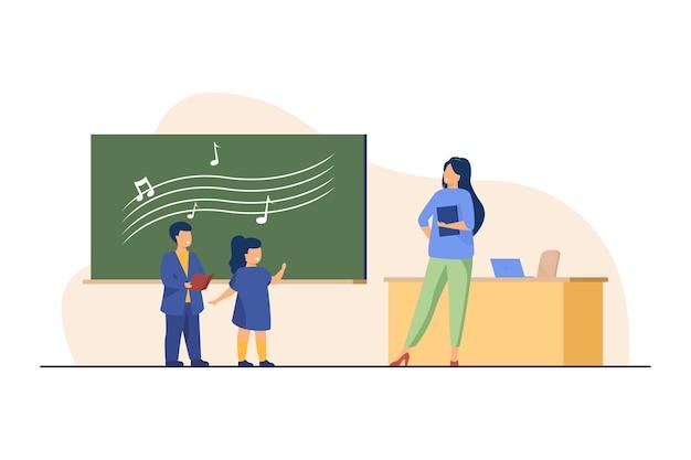 Grappige kinderen zingen op muziekles Gratis Vector