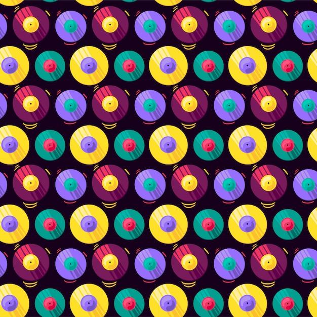 Grappige kleurrijke muzikale vinyl record vector naadloze patroon Premium Vector