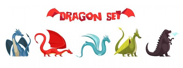 Grappige kleurrijke vuurspuwende drakenmonsters rare slang zoals pictogrammen van het wezens de vlakke beeldverhaal geplaatst geïsoleerd Gratis Vector