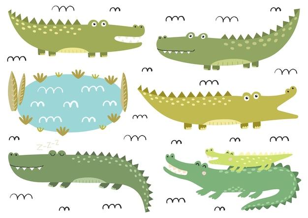 Grappige krokodillencollectie. leuke alligators in kinderachtige stijl. safari-personages. geïsoleerde elementeninzameling. illustratie Premium Vector