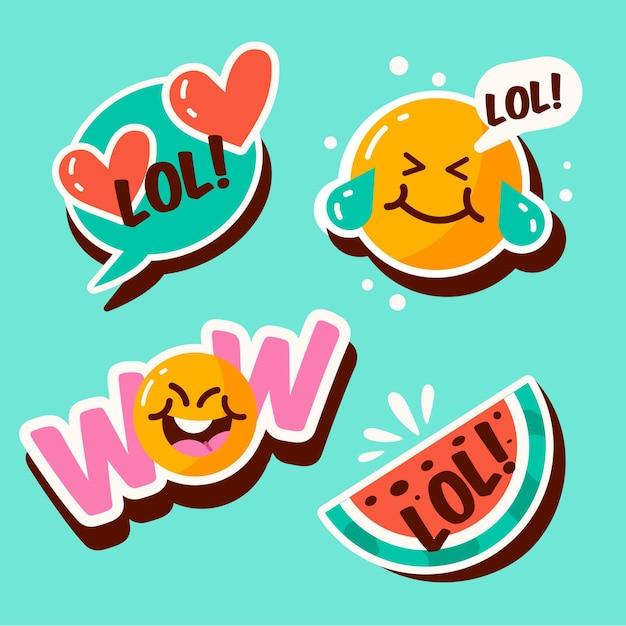 Grappige lol stickers collectie Gratis Vector