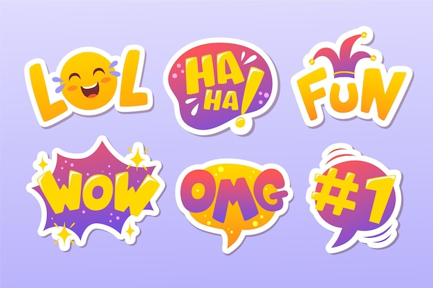 Grappige lol stickers set Premium Vector