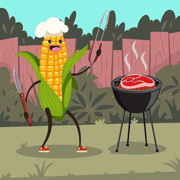 Grappige maïs in een chef-kok hoed met barbecue. schattig stripfiguur van een gelukkig groente met bbq-tools koken biefstuk op de grill op de achtertuin. Premium Vector
