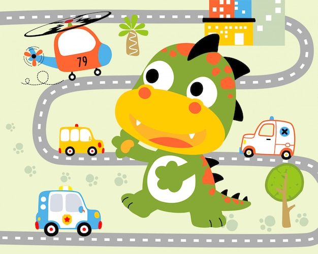 Grappige monster cartoon in de stad weg Premium Vector