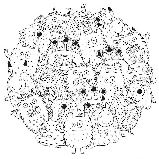 Grappige monsters cirkel vorm patroon Premium Vector