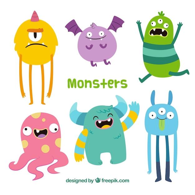 Grappige monsters collectie in de hand getrokken stijl Gratis Vector