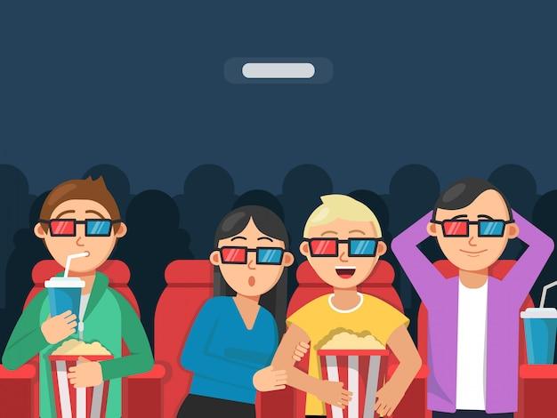 Grappige personages kijken naar enge film in de bioscoop. Premium Vector